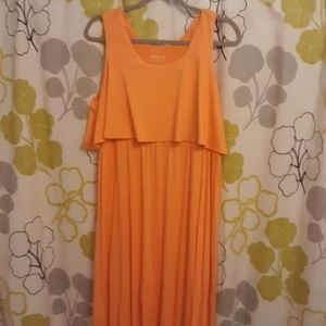 Merona Orange maxi dress ruffle top